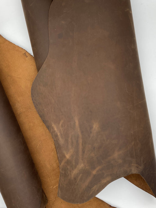 Oil Tanned Leather Small Side - Chocolate Brown 3.5oz/4oz