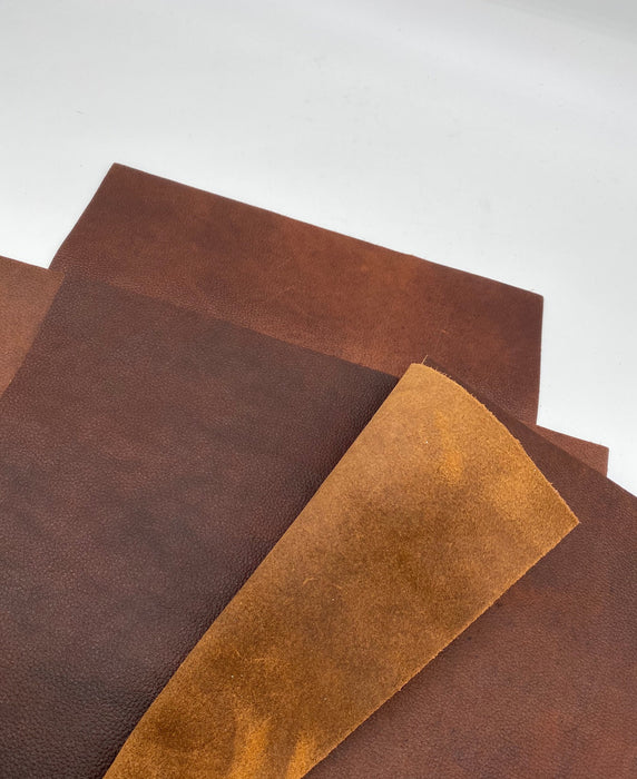 "Oil Tan Leather Panels 12""x12"" and  8""x10"" Copper Brown"