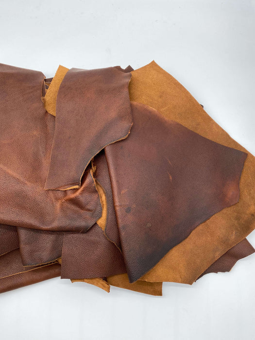 5lb Box of Brown Utility Leather Scrap