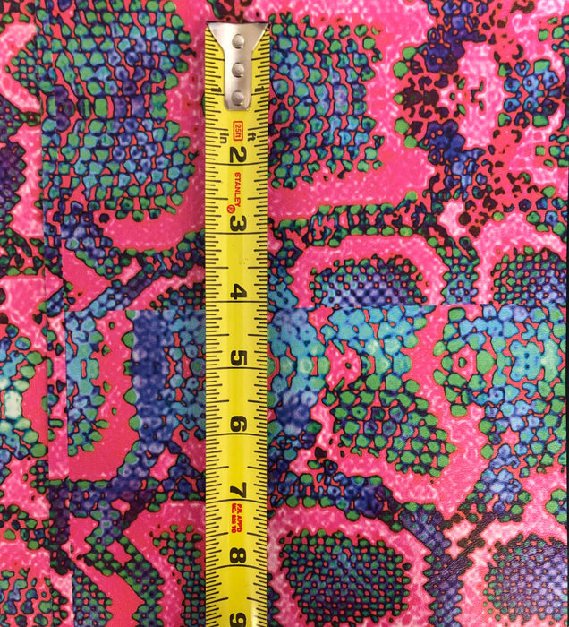 Hot Pink Snake Printed Marine Vinyl Faux Leather