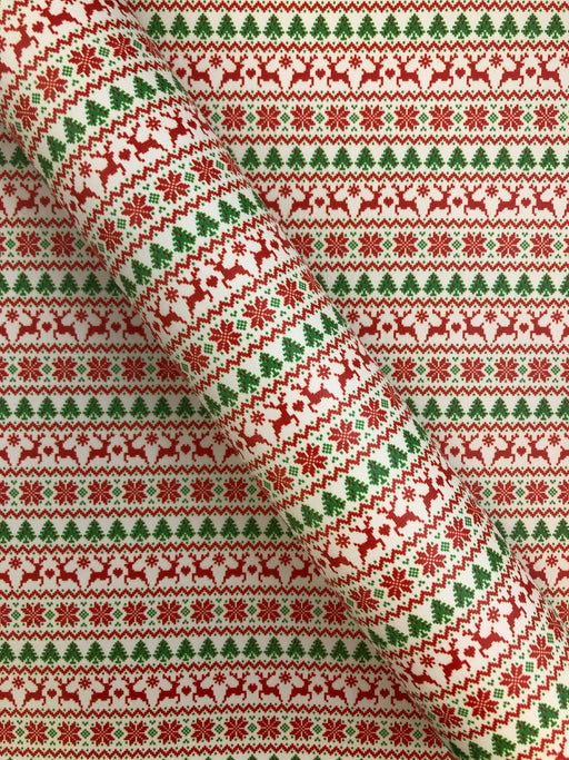Fair Isle Printed Marine Vinyl Faux Leather