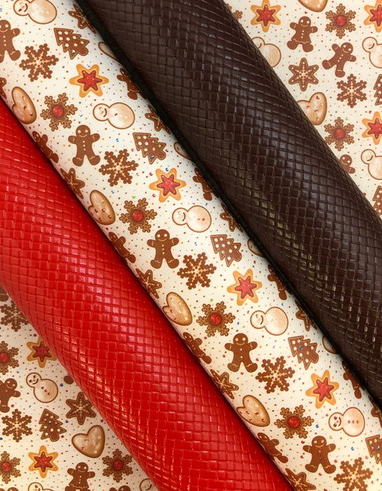 Holiday Cookies Printed Marine Vinyl Faux Leather