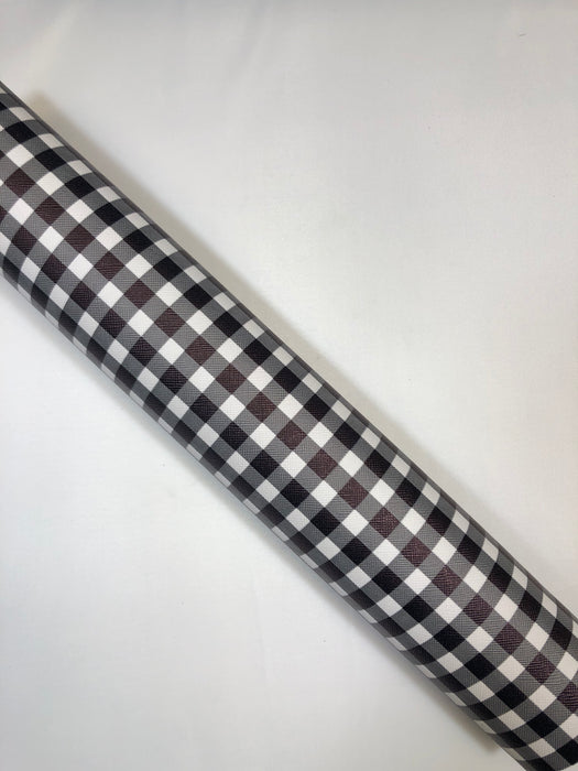 Black & White Buffalo Plaid Faux Leather Sheet