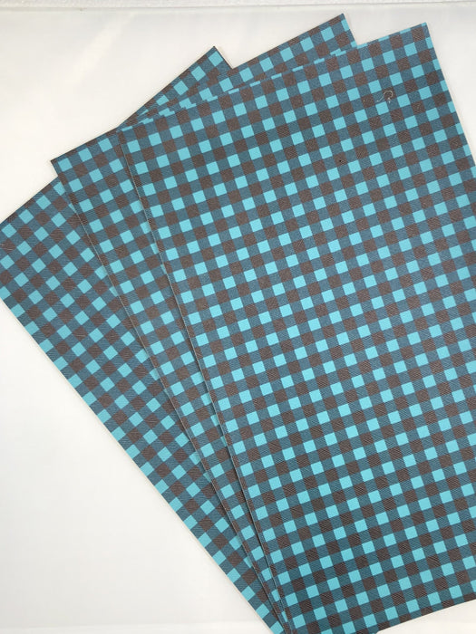 Teal and Black Buffalo Plaid - Faux Leather Sheet