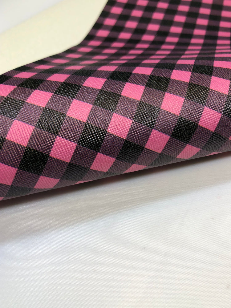 Pink and Black Buffalo Plaid - Faux Leather Sheet