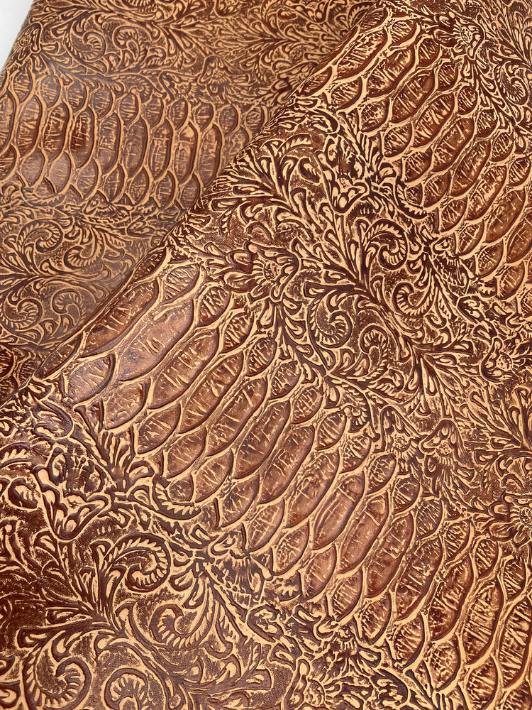Floral & Snake Embossed Cowhide Leather