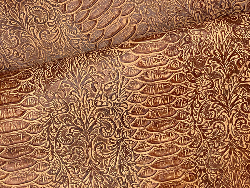 Floral & Snake Embossed Cowhide Leather Panels