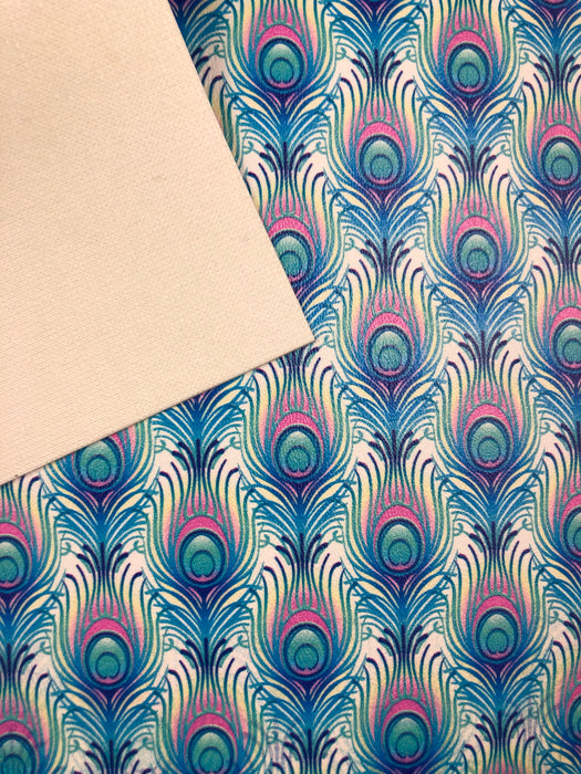 Peacock Feathers Printed Marine Vinyl Faux Leather