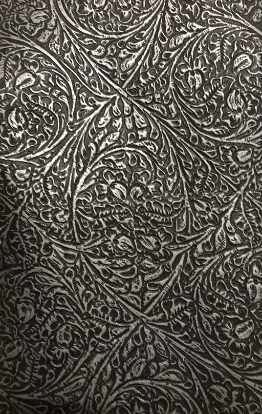 Pewter Metallic Leather - Western Floral Embossed Cowhide Leather Sheet