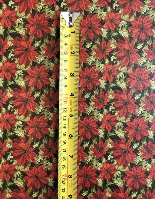 Poinsettias Printed Faux Leather - Printed Marine Vinyl