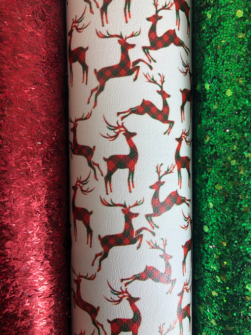 Plaid Reindeer Red & Green Printed Faux Leather - Printed Marine Vinyl