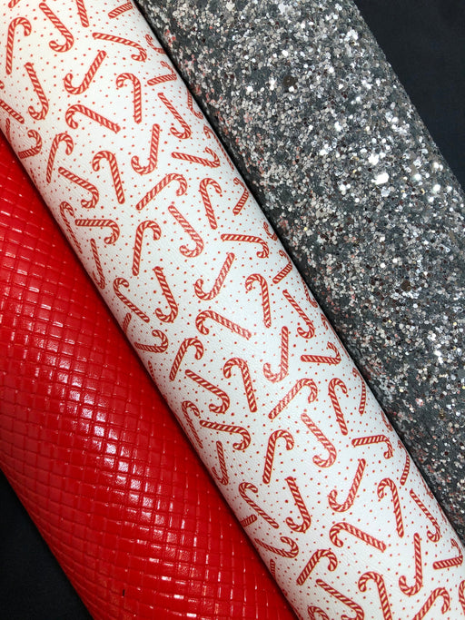 Candy Cane Polka Dot Faux Leather - Printed Marine Vinyl
