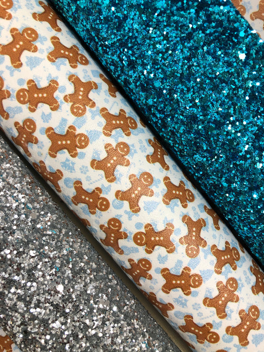 Gingerbread Cookie Printed Faux Leather - Printed Marine Vinyl