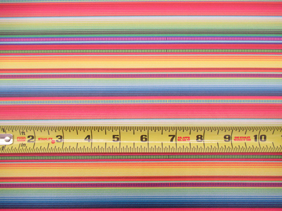 Neon Braided Serape Printed Marine Vinyl Faux Leather