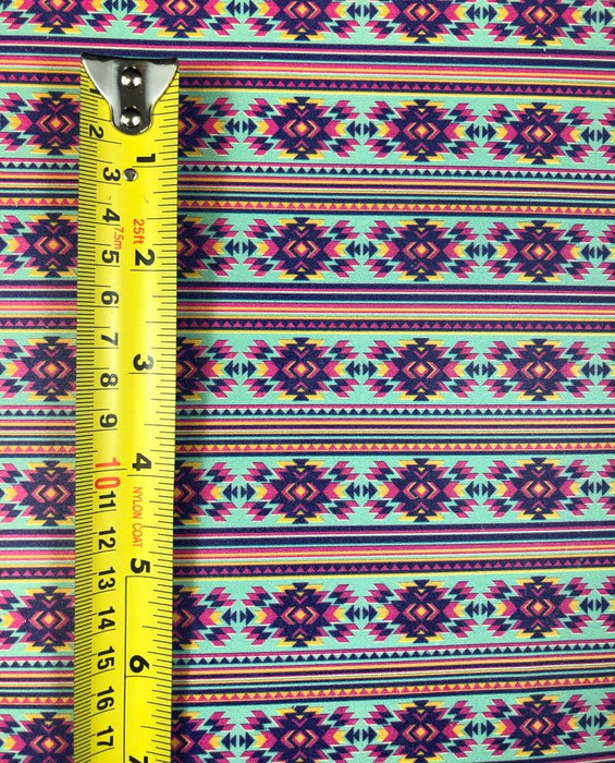 Chinle Pattern - Turquoise and Hot Pink Aztec Printed Leather