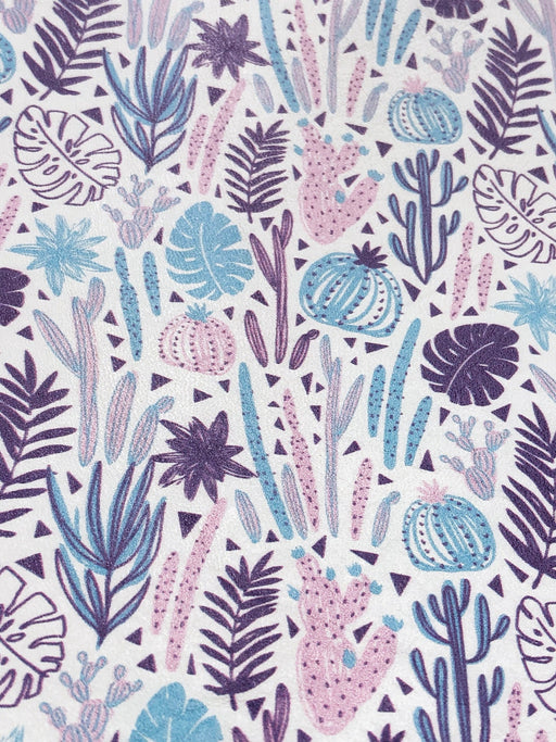 Purple Cactus Printed Leather