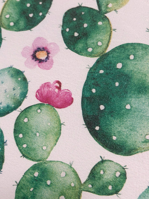 Watercolor Cactus Printed Leather