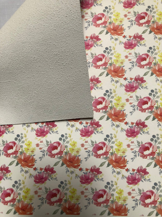 Printed Leather Panel - Watercolor Floral Pattern - Printed Leather Sheet - Printed Leather Square