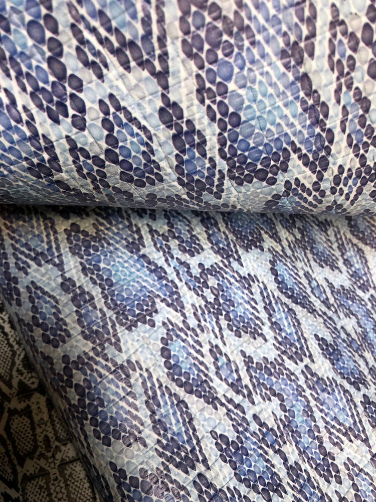 Reptile Printed Embossed Cowhide Leather - Blue
