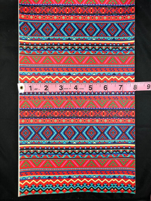 Colorful Aztec Printed Faux Leather Sheet