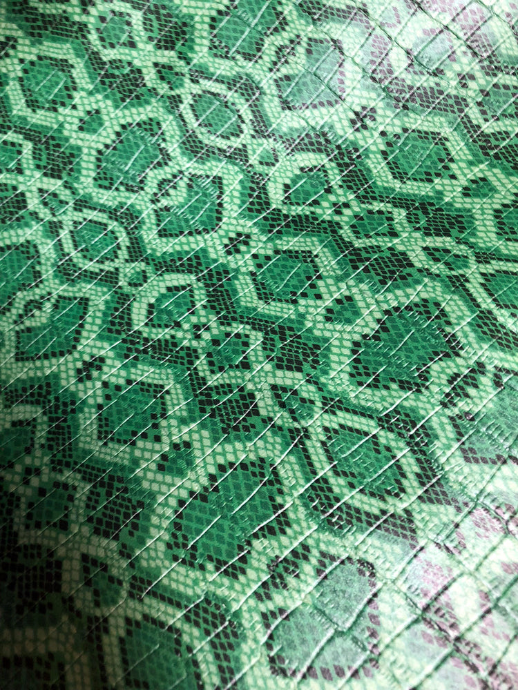Green Reptile Printed Crocodile Embossed Leather