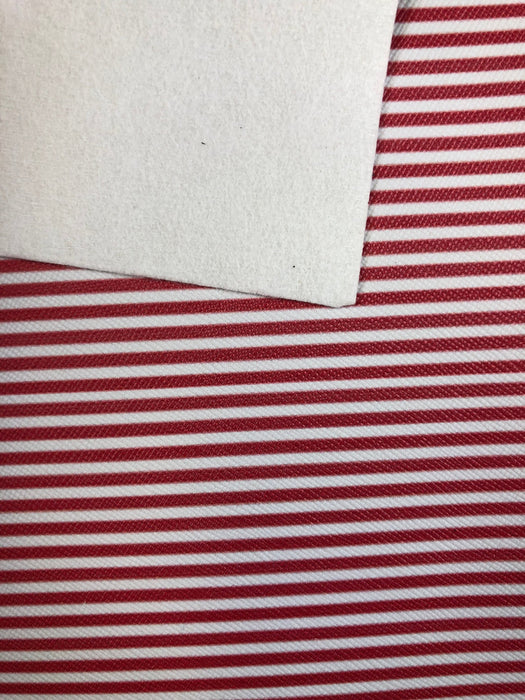Red & White Stripe Faux Leather