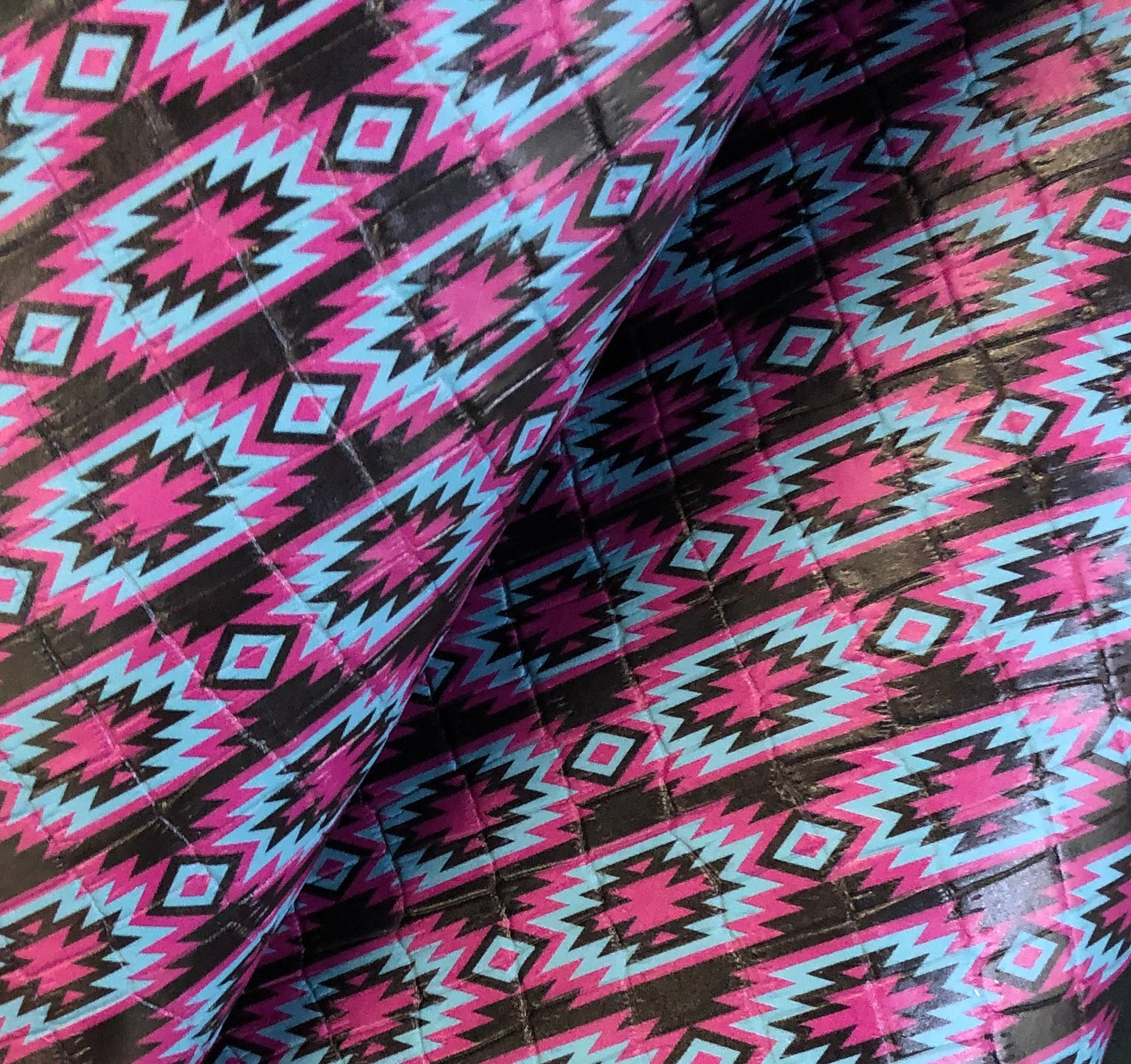 Pink and Teal Tribal Printed Embossed Leather