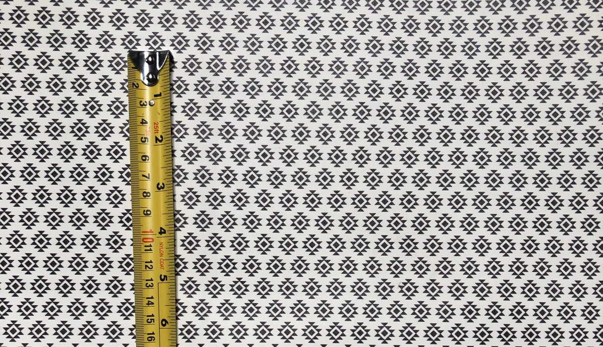 Aztec Printed Leather - Black and White Aztec Print