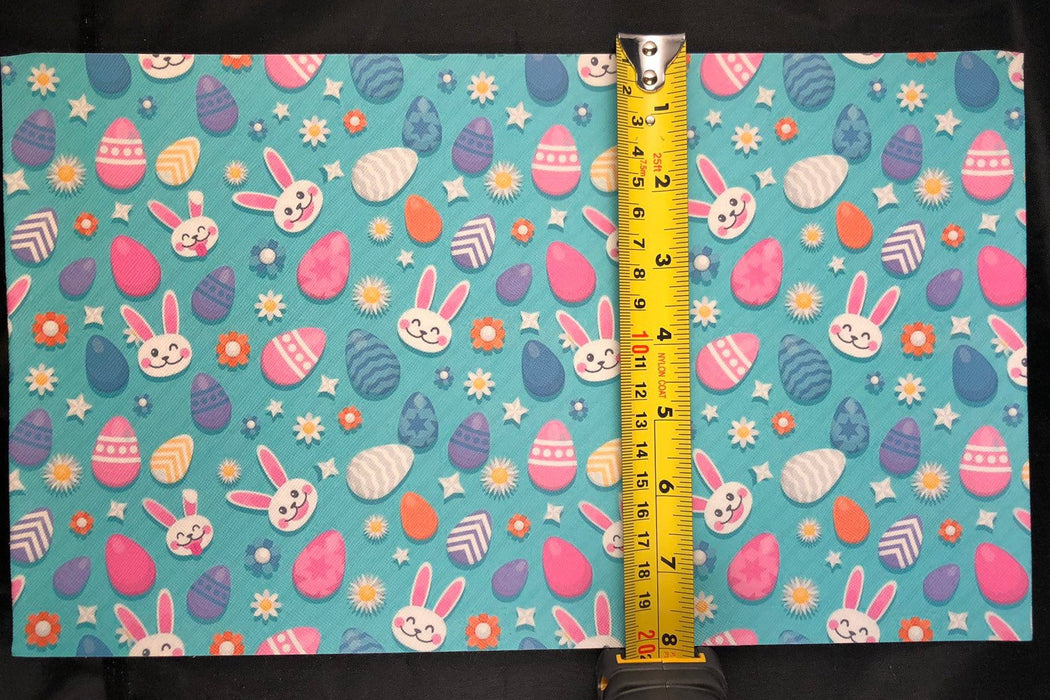 Teal Easter Print Faux Leather