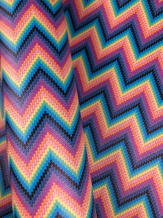 Faux Leather Sheet - Neon Zig Zag Stripe