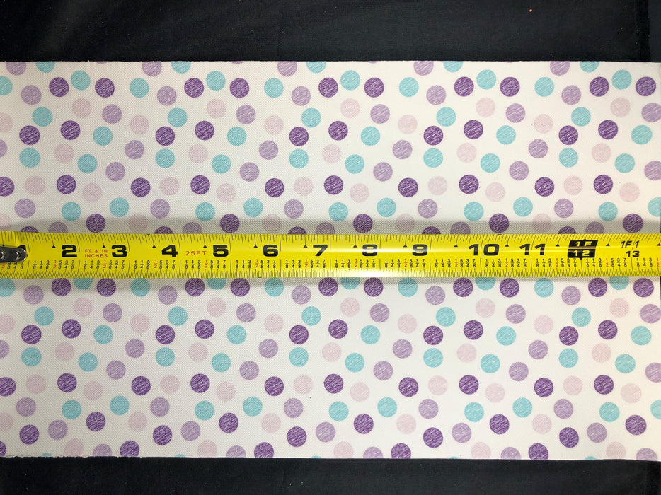 Purple Polka Dot Printed Faux Leather