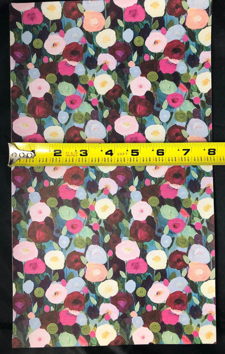 Impressionist Flower Printed Faux Leather