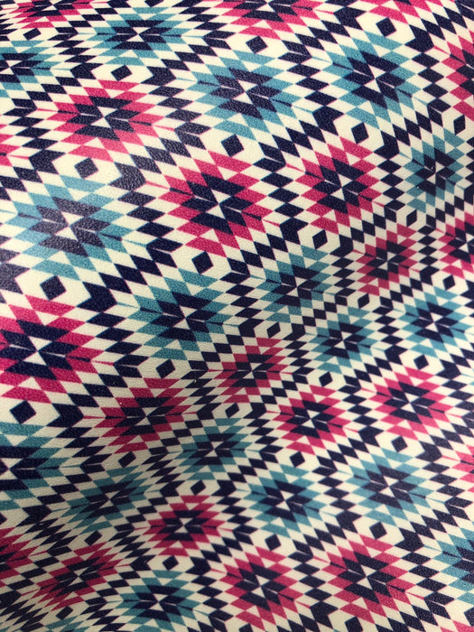 Pink and Blue Aztec Printed Leather