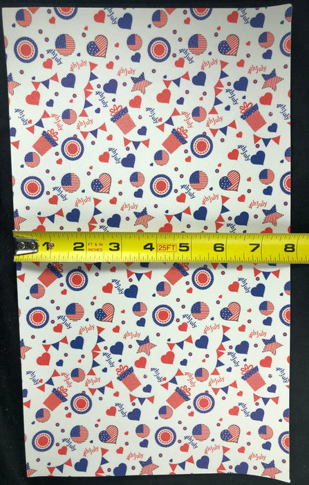 Fourth of July Printed Faux Leather