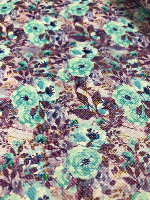 Purple Floral Printed Faux Leather