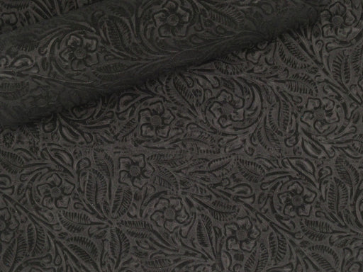 Jet Black Floral Embossed Suede Leather Sheets 3-4 oz (1.2-1.6 mm)
