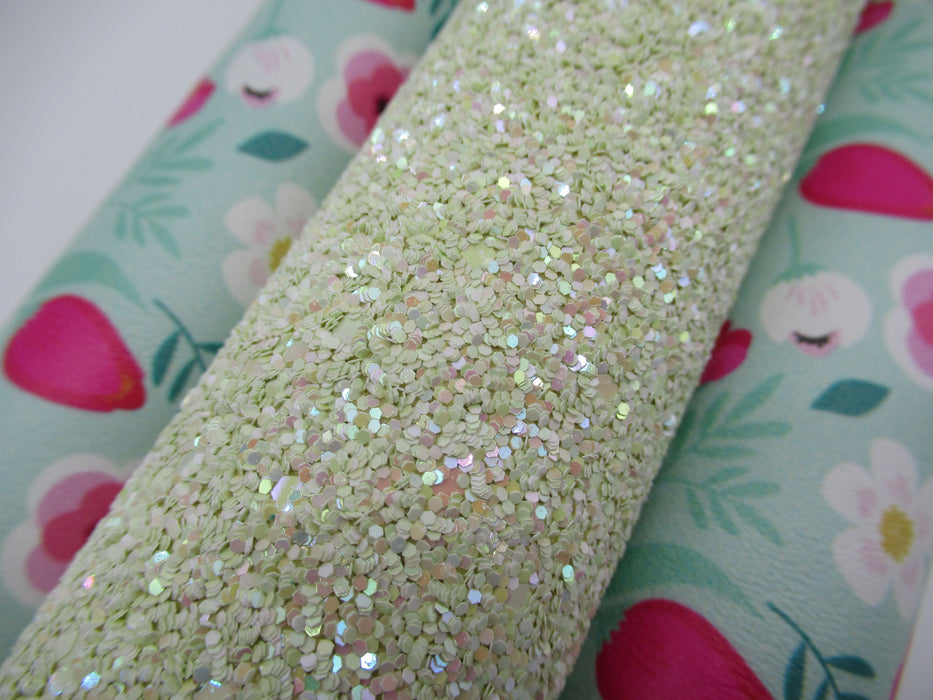 Seaweed Green Glitter Faux Leather Sheet
