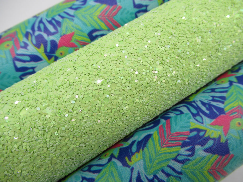 Pastel Sea Turtle Green Glitter Faux Leather Sheet