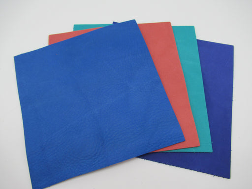 Brightly Colored Leather Panels - Nubuck Finish
