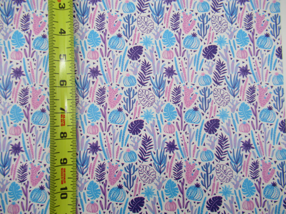 Pastel Cactus Marine Vinyl Faux Leather