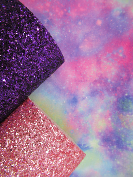 Pastel Galaxy Printed Marine Vinyl Faux Leather
