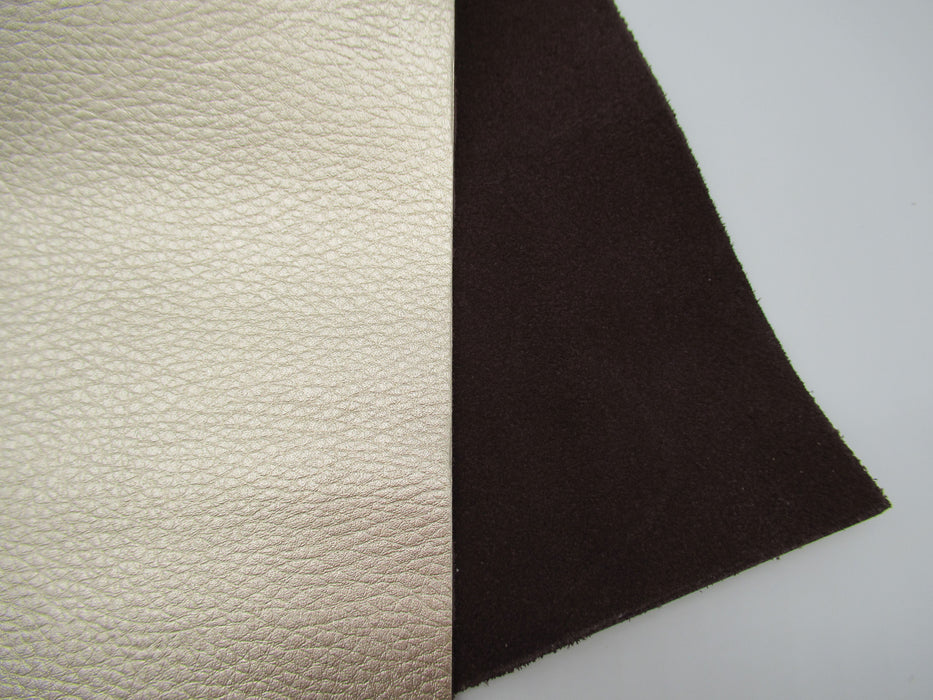 Champagne Metallic Cowhide Leather Panels