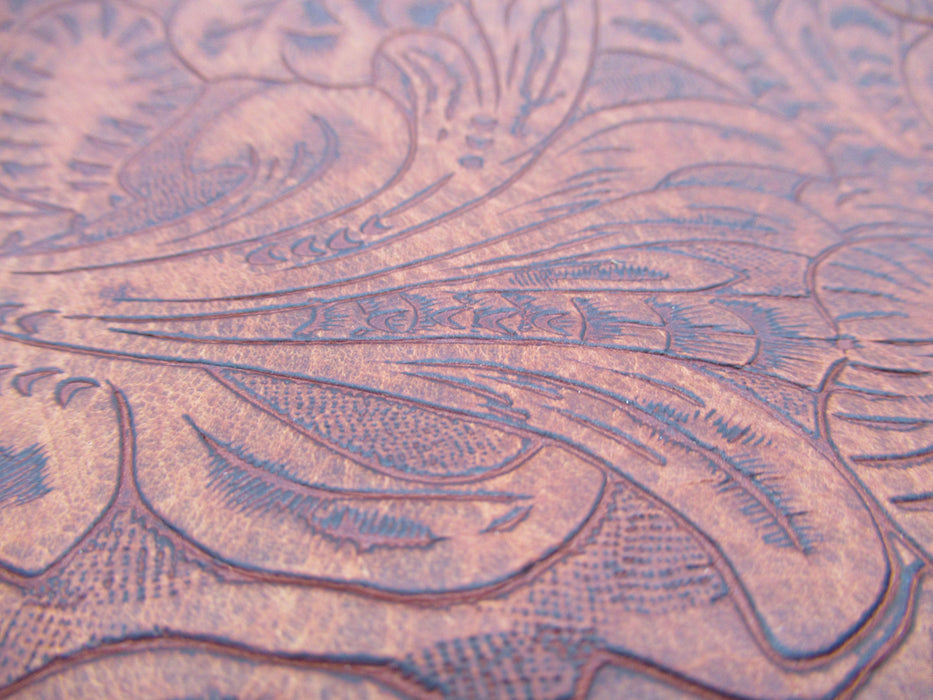 Saddle Brown Embossed Cowhide Leather