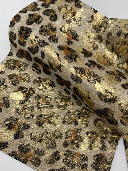 Metallic Leopard Hair On Cowhide Leather Sheets