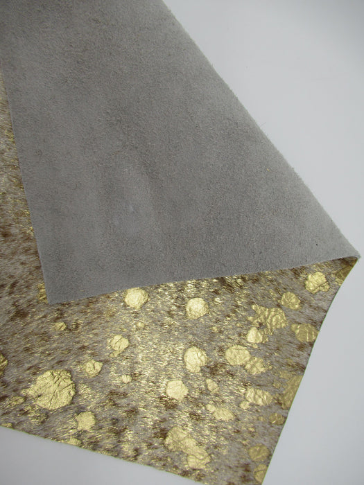 Metallic Gold Hair On Cowhide Leather Panels