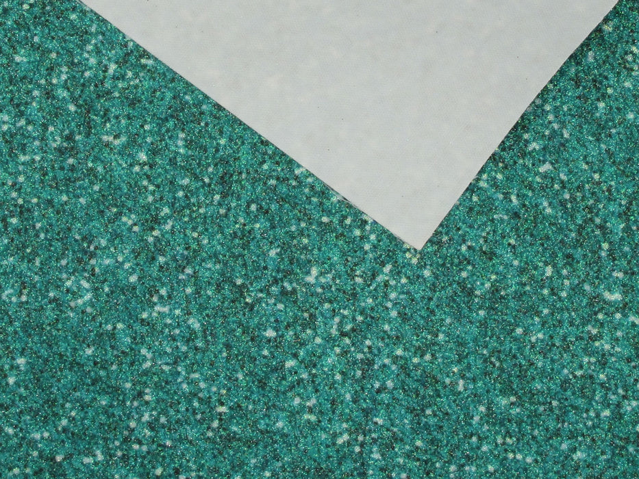 Dark Teal Printed Extra Fine Glitter Look Faux Leather Sheets