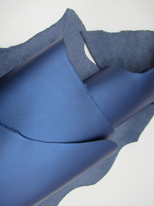 Frosted Metallic Pacific Blue Cowhide Leather Side