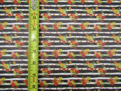 Striped Fall Floral Printed Marine Vinyl Faux Leather