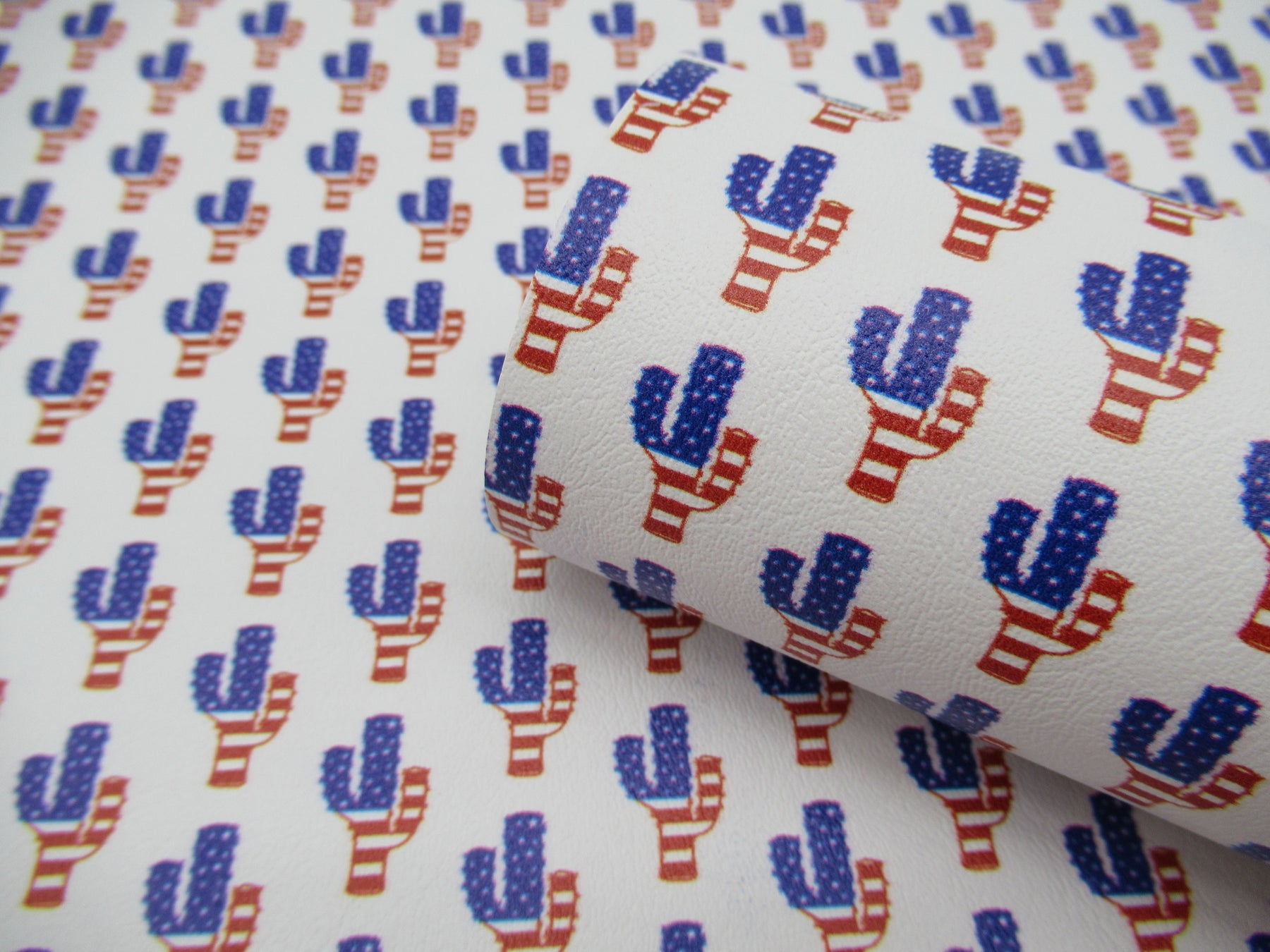Patriotic Cactus Printed Marine Vinyl Faux Leather
