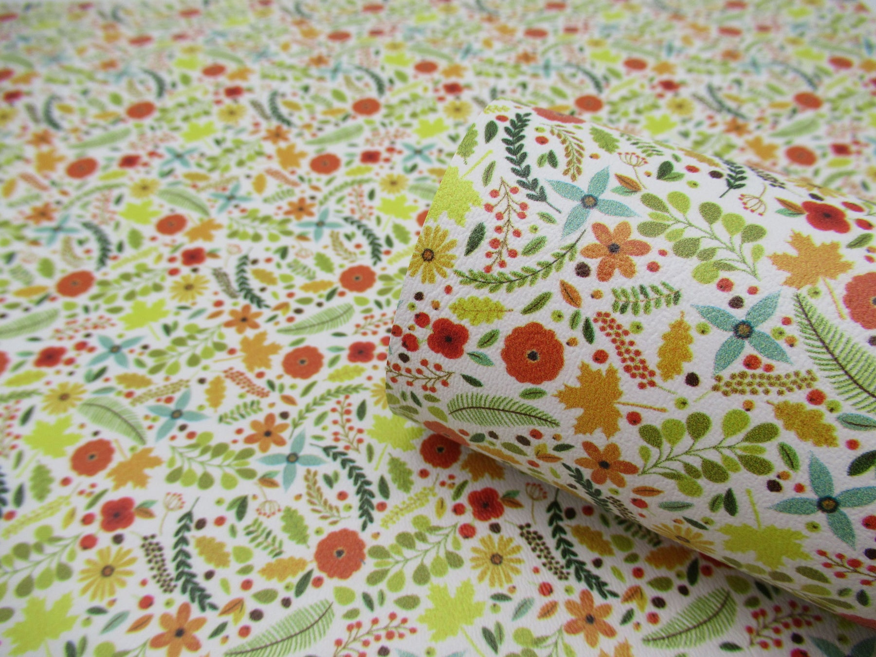 Fall Floral Printed Marine Vinyl Faux Leather